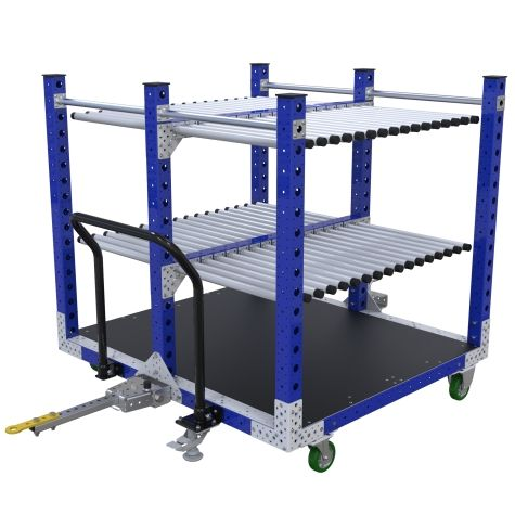 Kit cart designed to transport panels across a shop floor.