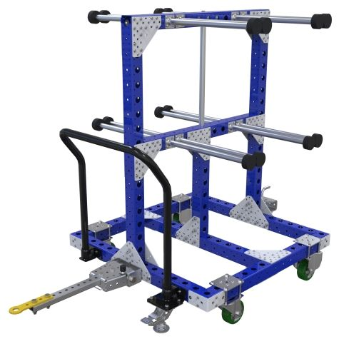 This hanging cart is designed for transporting hanging parts.