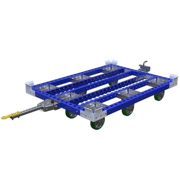 Tugger cart designed for heavy pallets and containers.