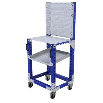 Store and transport components and tools with a work table.