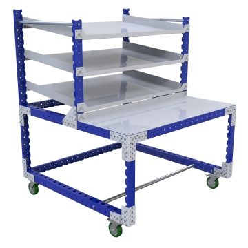 This solution combines three levels of flow shelves for holding totes/bins/boxes/misc.