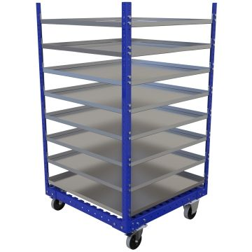 Eight levels flat shelf cart.