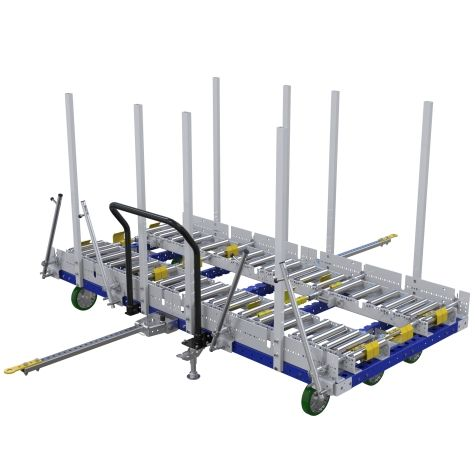 Specially designed transfer cart for pallets and containers.
