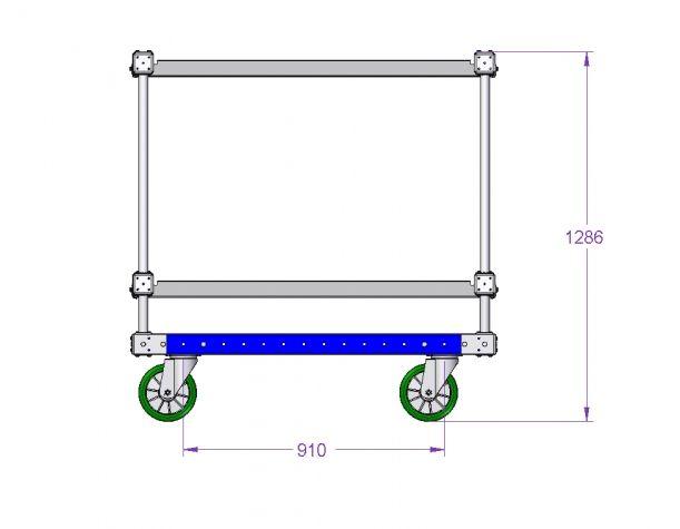 Two Level Flat Shelf Cart 1260 x 1260 mm