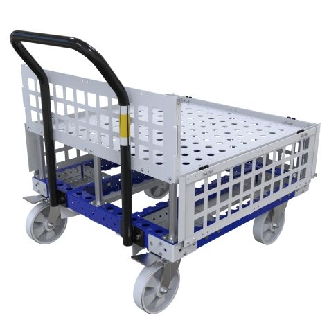 Push cart designed with a top structure to hold containers/boxes/lose parts.