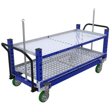 Two-level shelf cart for holding lightweight components, most commonly used for transportation of totes/bins/boxes or loose components.
