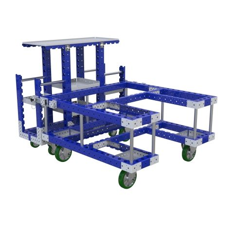 Flat shelf kit carts most commonly used to store and transport totes and kits of parts.