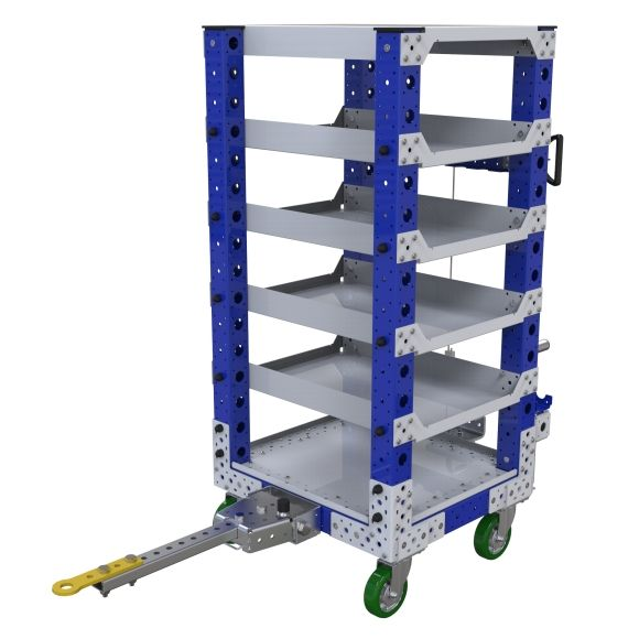 Six levels flat shelf tugger cart, most commonly used for the transportation of totes, bins, and boxes.