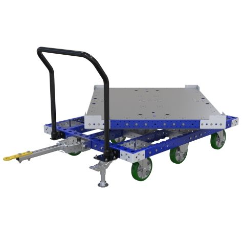 Tugger pallet cart equipped with a rotating deck that can be locked in 90-degree increments.