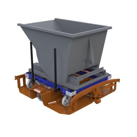 This cart was custom-designed to be used with a dump bin that bolts on to the platform.