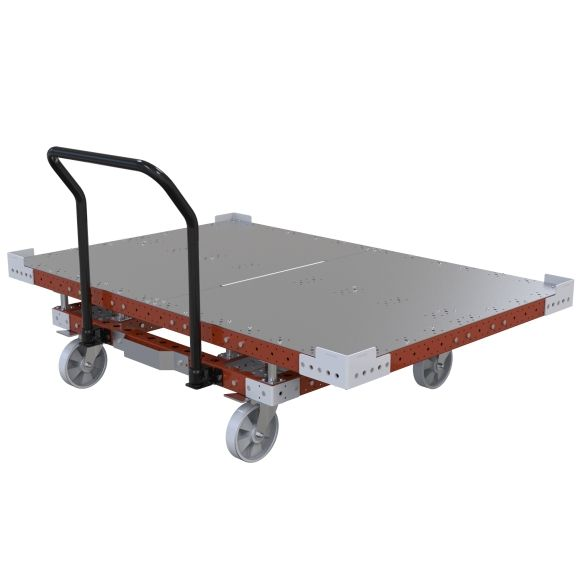 Flat deck pallet push cart designed to be used in combination with a LiftRunner.