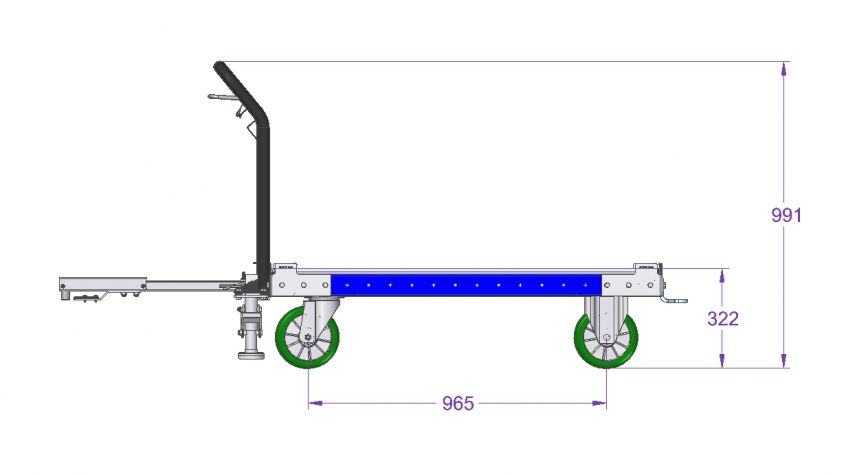 1260 x 1260 mm Tugger Cart with Wire Release