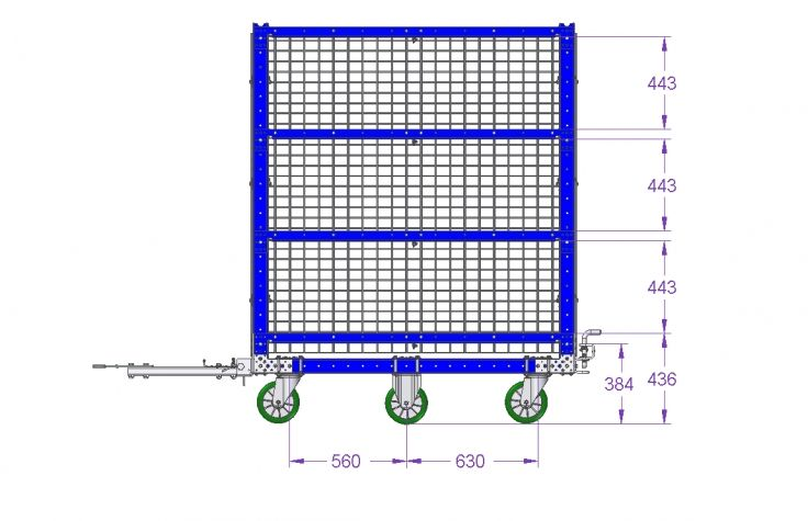 Shelf Cart with Wire Mesh 1540 x 1330 mm