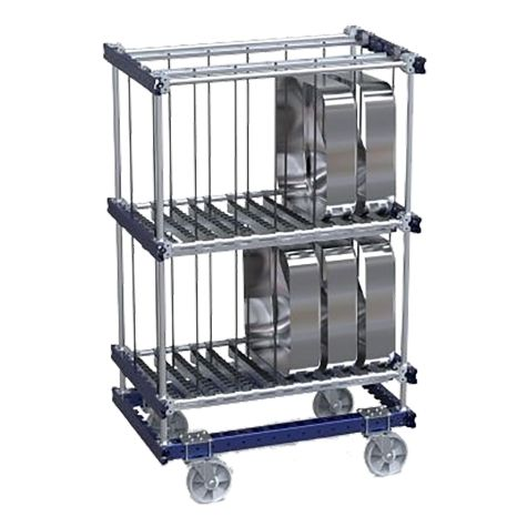 Kit Cart with Rollers and Dividers