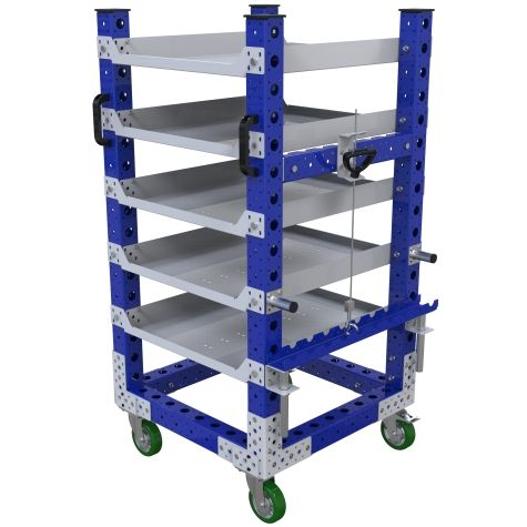 Five-level flat shelf cart designed to transport totes, bins, and boxes.