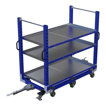 Flat Shelf Tugger Cart 70 x 36 inch - 3 Shelves