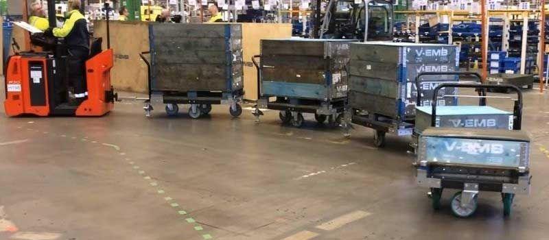 FlexQube Tugger Train System - Material handling carts
