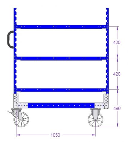 Flat Shelf Cart - 1260 x 700 mm