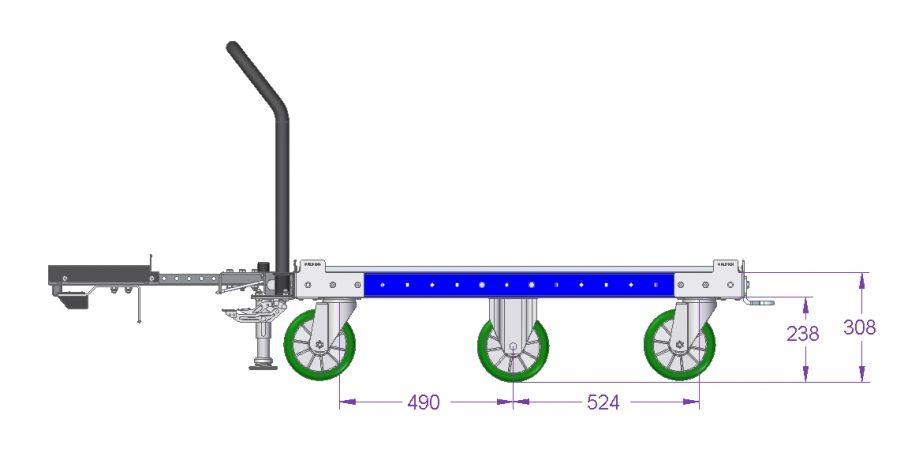 Flat Deck Tugger Cart - 1050 x 1260 mm