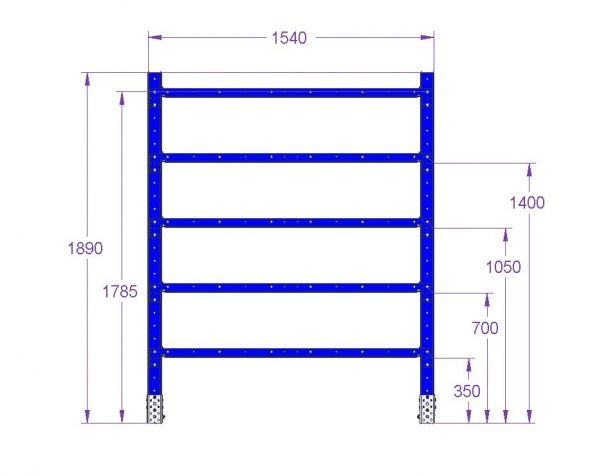 Flat Shelf Rack - 1540 x 420 mm