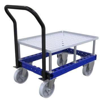 Pallet cart with a raised deck to bring the load up to an ergonomic picking height.