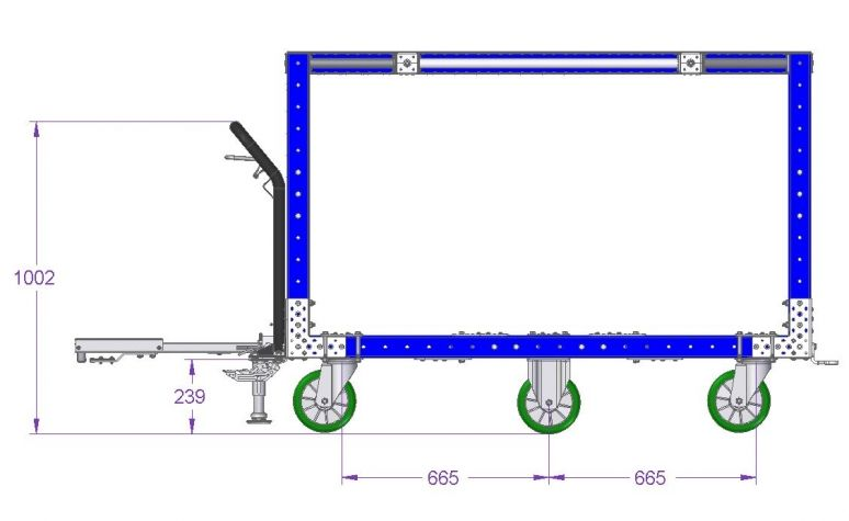 Tugger Cart w. Top Frame - 1680 x 840 mm