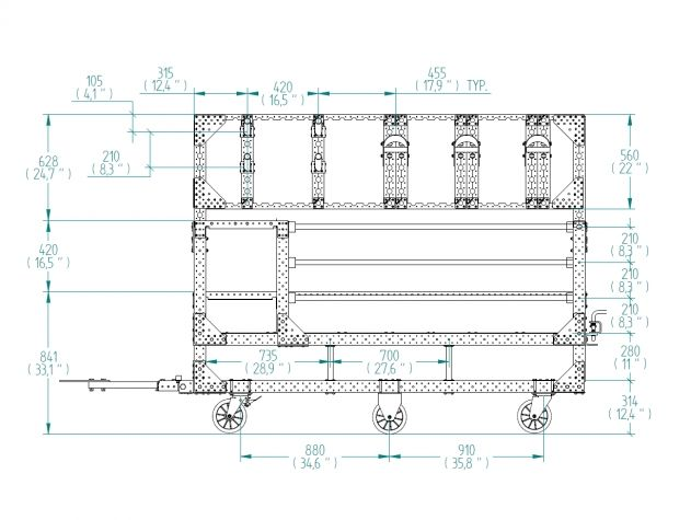 Material handling cart design drawing