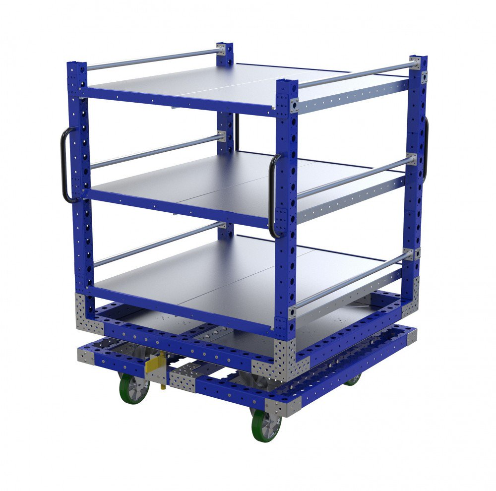 FlexQube industrial rotating cart with flat shelves
