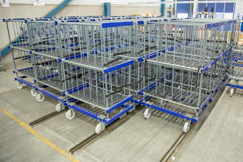 FlexQube Material Handling kit carts grouped together at a customer