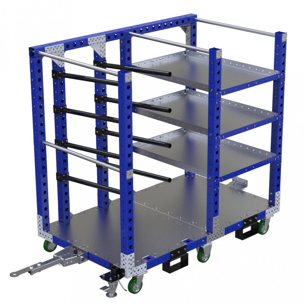 FlexQube Material Handling kit cart with hangers and shelves