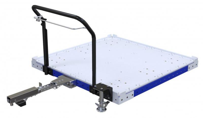 FlexQube Material Handling tugger cart with wire release tow bar