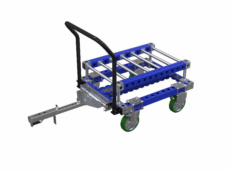FlexQube fly wheel cart with attached tow bar