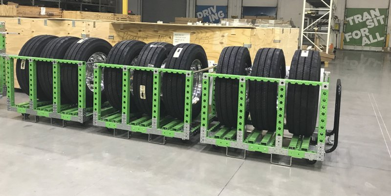 FlexQube tyre carts in use at bus manufacturer
