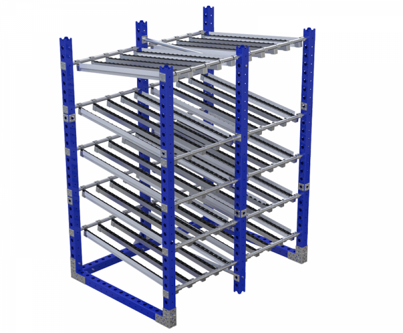 FlexQube Material Handling flow rack with rollers