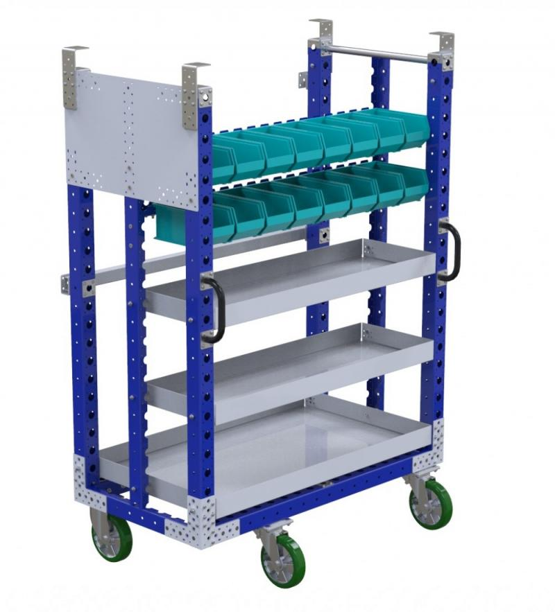 Industrial kit carts for a mother-daughter cart system by FlexQube