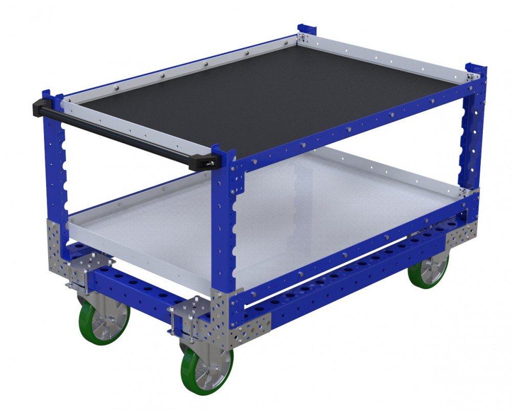 FlexQube Material Handling custom shelf cart with added rubber