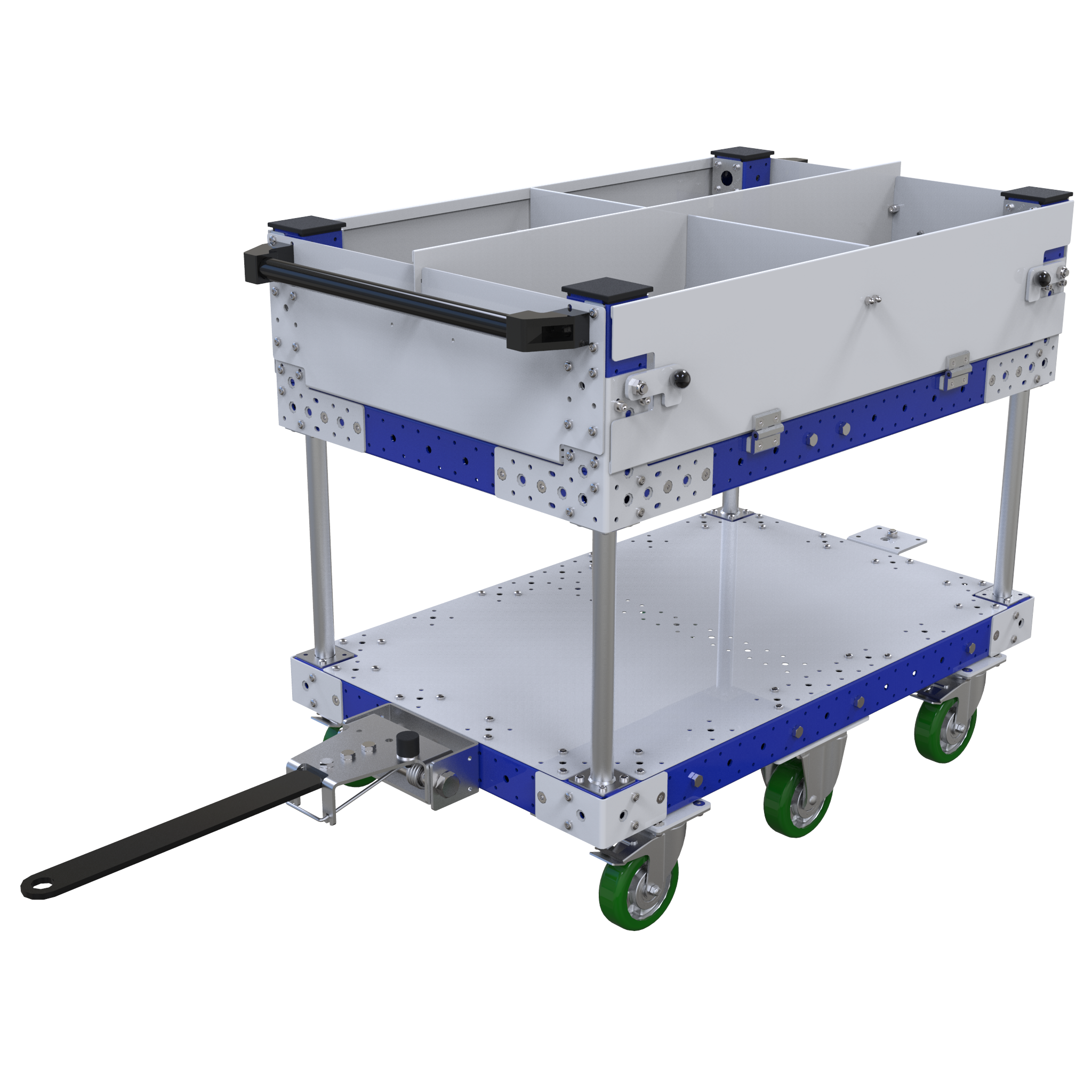 Two level flat shelf tugger cart. The top shelf has been split into four sections with removable dividers.