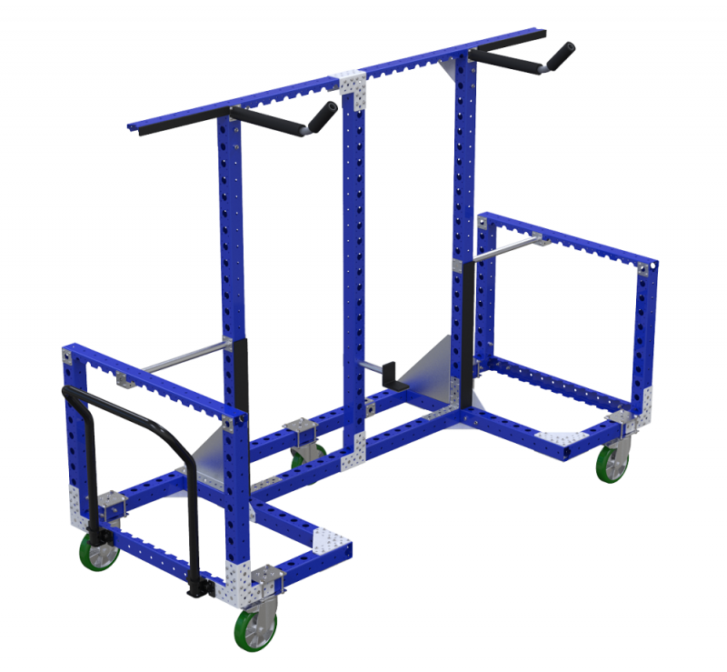 Material handling cart for hanging by FlexQube