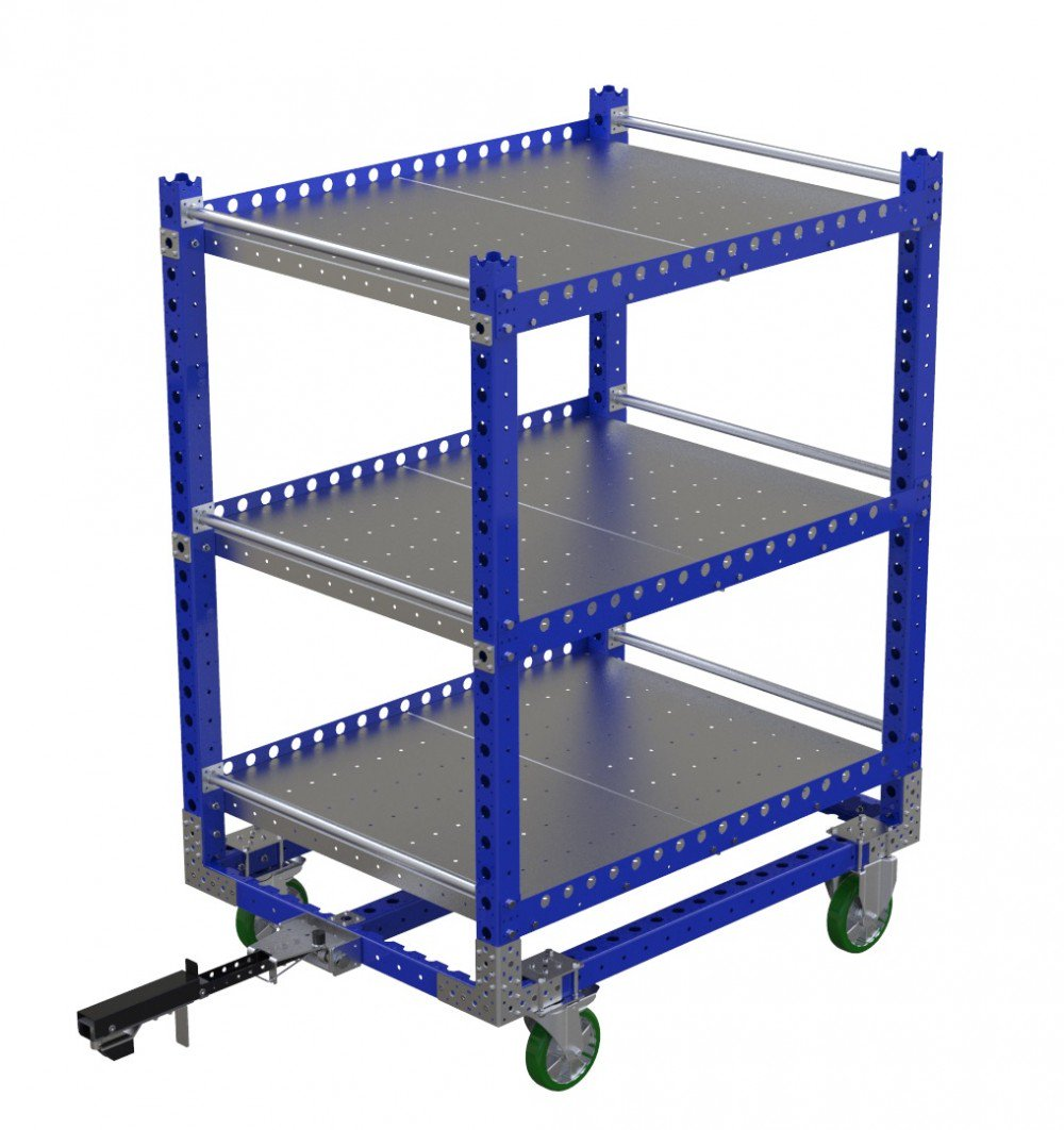 FlexQube modular industrial material handling flat shelf cart