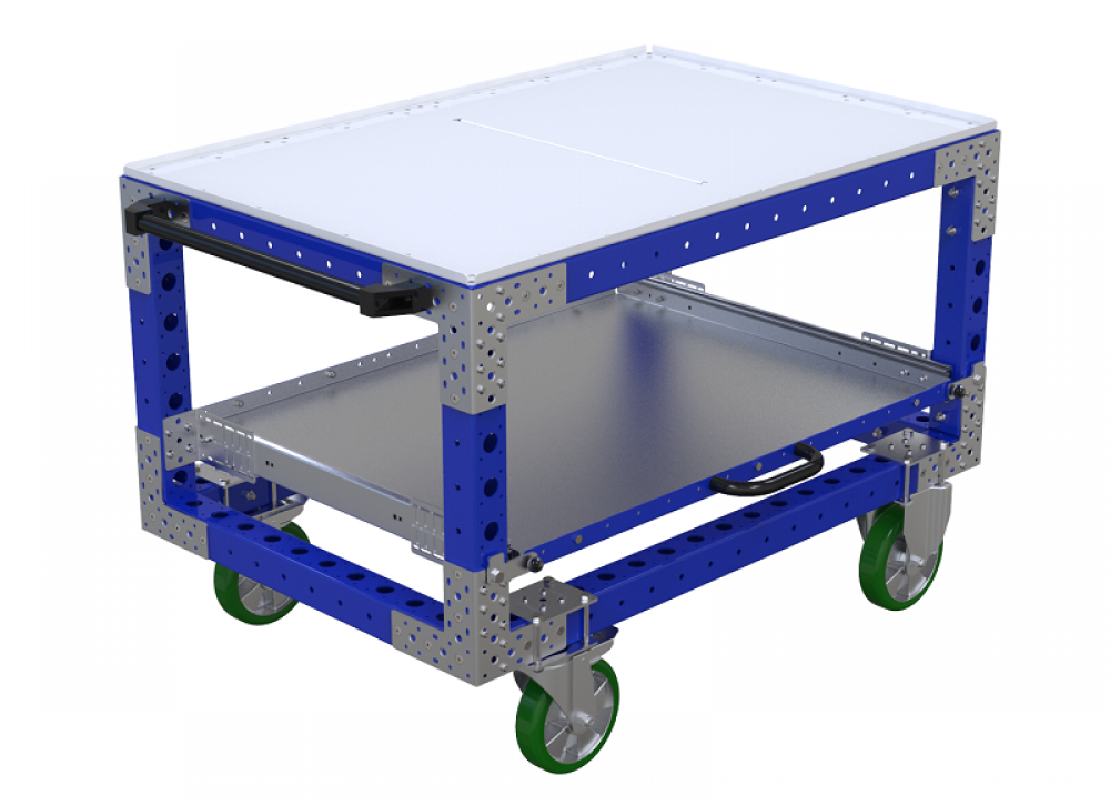 FlexQube Material Handling custom shelf cart with extendable shelf